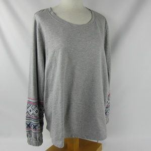 Style & Co. Gray Embroidered Sleeve Sweater Sz 1X